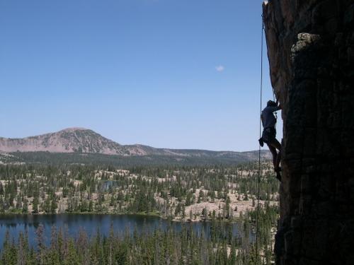 Ruth Lake - and a climber